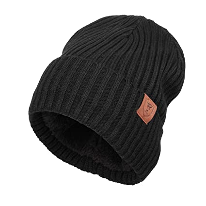 OZERO Knit Beanie Hat Winter Thermal Polar Fleece Snow Skull Cap for Men  and Women 4397a18529b
