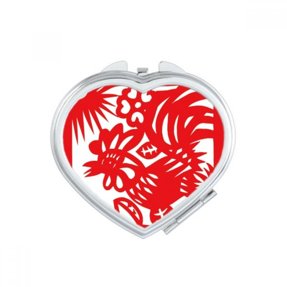 DIYthinker Paper-cut Rooster Animal China Zodiac Heart Compact Makeup Mirror Portable Cute Hand Pocket Mirrors Gift