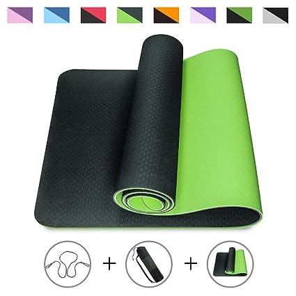 ROMIX Esterilla Yoga, Exercise Mat Eco-Friendly 6MM de Gruesor TPE con Bolsa de Transporte, Colchoneta de Yoga Antideslizante para Hombres, Mujeres, ...