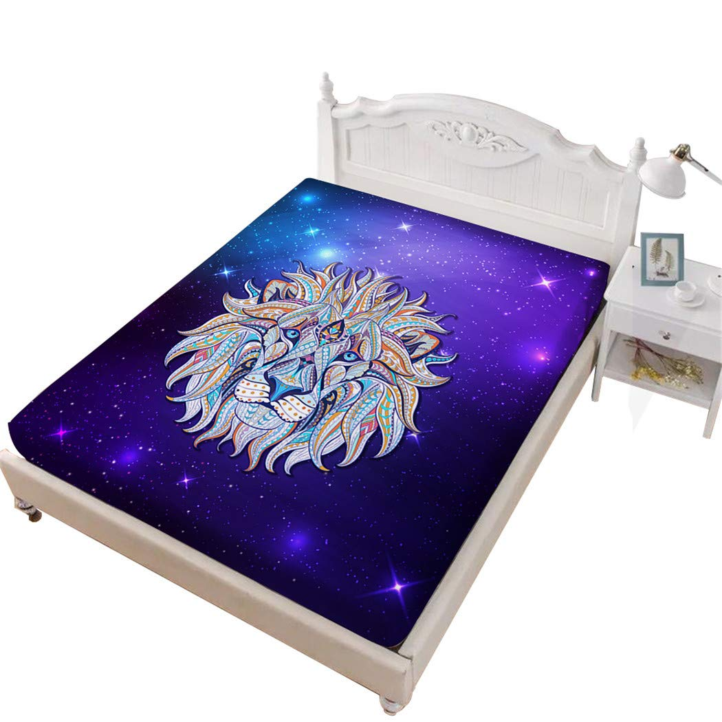 Jessy Home Lion Fitted Sheet Twin,Animal Printing 3D Bedding,Gifts for Girls Purple