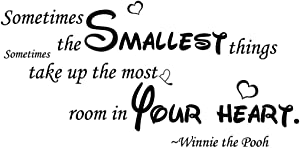 Hi-Shop Sometimes The Smallest Things Take Up The Most Room in Your Heart Bedroom Quote Decors Wall Saying Decals Quote for Home Wall Stickers Nursery Room Decor(2)