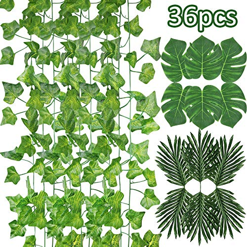 XiaZ 12 Pcs Artificial Palm Leaves, 84 FT Fake Ivy Garlands Greenery and 12 Pcs Tropical Monstera Leaf for Background, Faux Plants for Safari, Jungle, Hawaiian Luau, Kids Party, Placemats ()