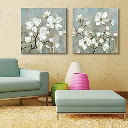 IPLST@ Modern Wall Art Large Pear Blossom Flowers Oil Painting on ...