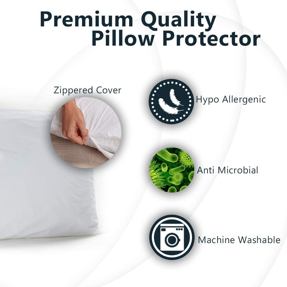 ComfiLife 100% Waterproof Pillow Protectors – Allergy Relief Pillow Cases – Hypoallergenic Zippered Pillow Covers for Bed Pillows – (Set of 2, Standard): Home & Kitchen