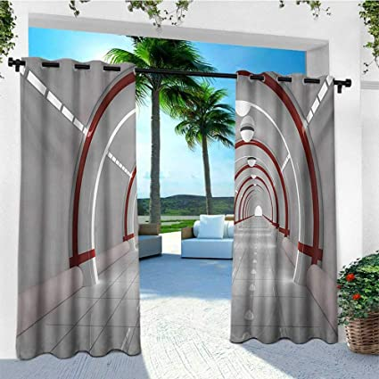 cbf6d772742496 Amazon.com : Outer Space, Outdoor Curtain Pair, Station with The Clean  Walls Featured Surface Alien Astronomy Big Bang Ship, for Patio W84 x L108  Inch White ...
