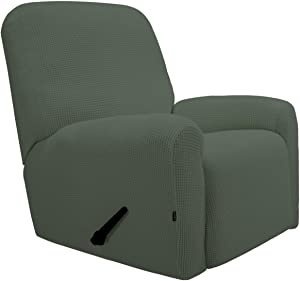 PureFit Stretch Recliner Sofa Slipcover with Pocket – Spandex Jacquard Non Slip Soft Couch Sofa Cover, Washable Furniture Protector with Elastic Bottom for Kids (Recliner, Greyish Green )