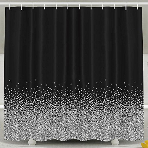 Amazon SARA NELL Shower Curtain Mold And Mildew Resistant Silver Bath Waterproof Polyester Fabric Bathroom Decor Set With Plastic Hooks 72 X