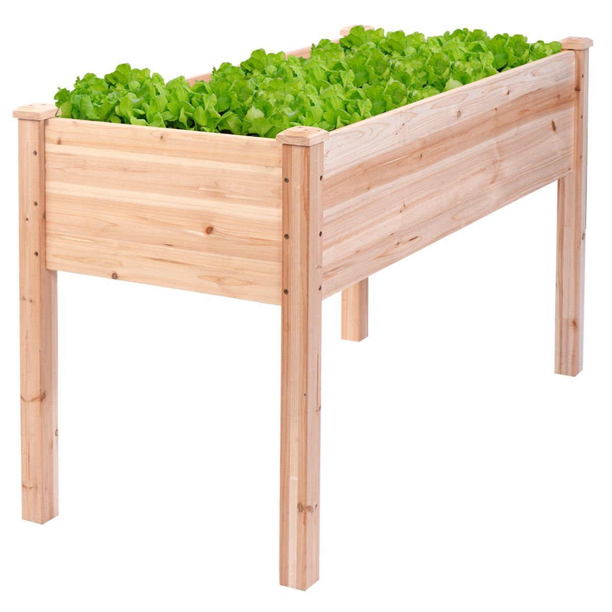 Giantex Raised Garden Bed Vegetables Fruits Grow Planter Patio Yard Potato Onion Greenes Herb Flower Heavy Duty Wooden Frame Gardening Planting Beds Durable Outdoor Cedar Wood Elevated Planter