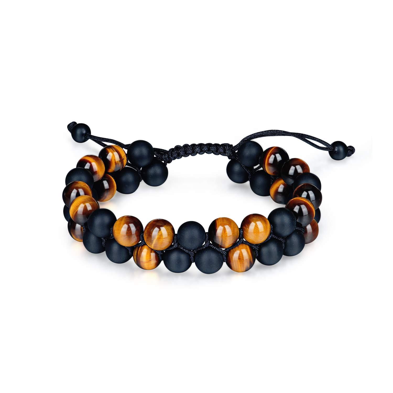 COLORFEY Bracelet Homme Pierre Naturelle Noir Perles Oeil de Tigre Lapis Lazuli Bouddhiste Bracelet CL-20180302