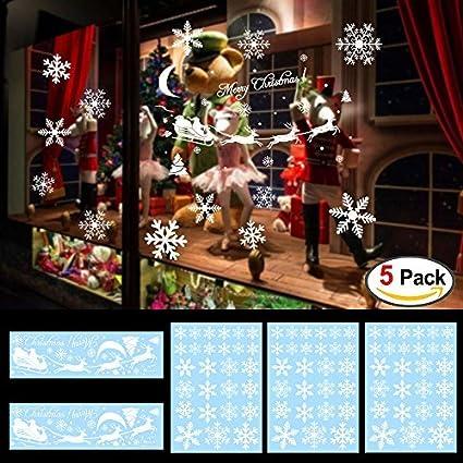 144designs snowflake window clings stickers for christmas decorations konsait christmas window decals stickers white ornaments - Christmas Window Decorations Amazon