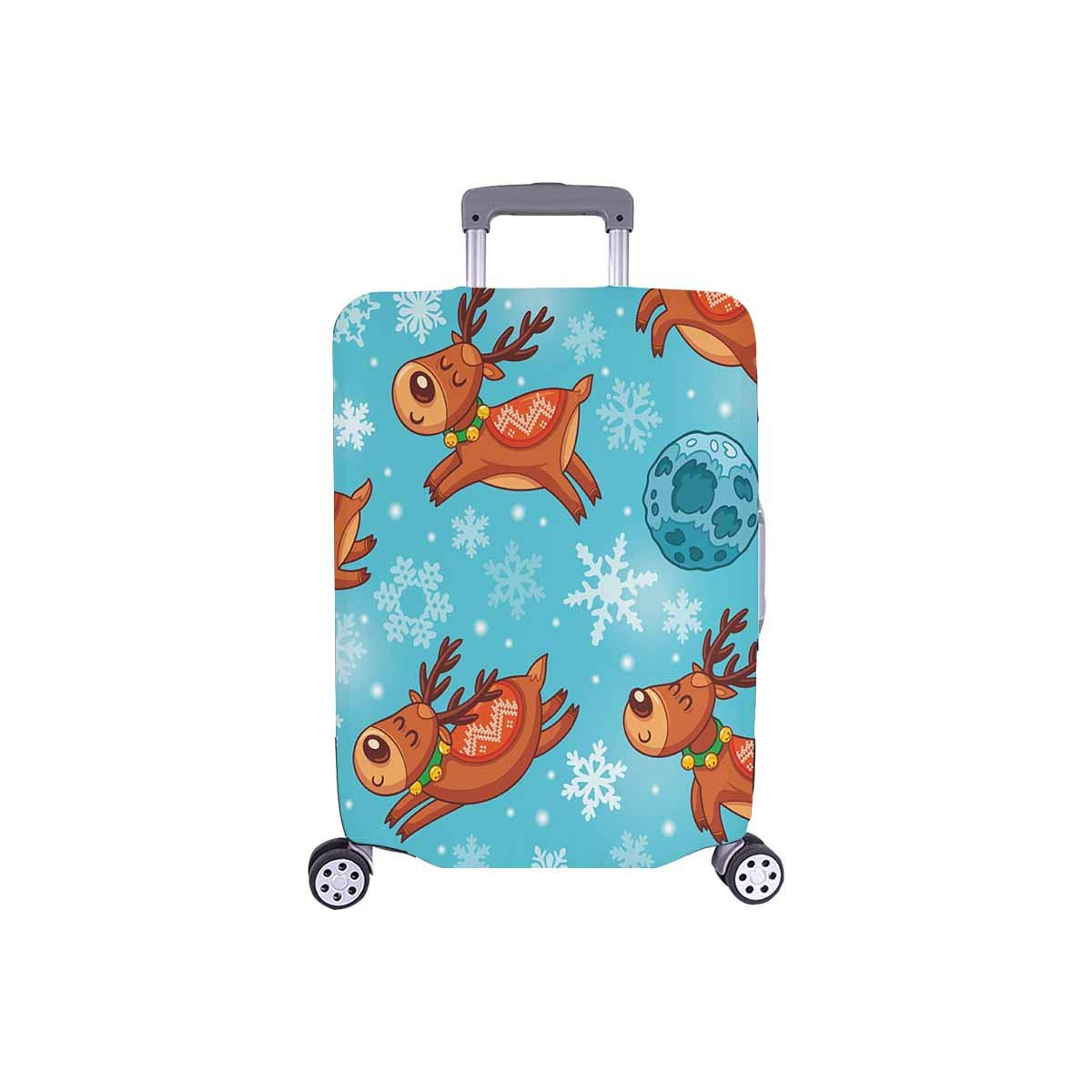 InterestPrint Luggage Protectors Cute Suitcase Covers Funny Deers Characters and Snowflakes Fit 18-21 Inch Luggage