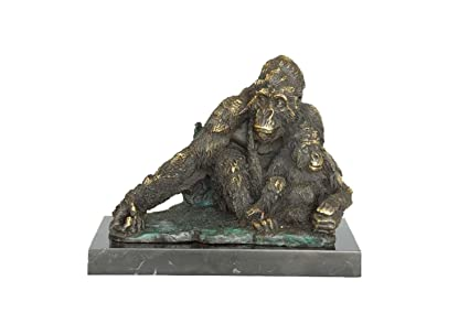 Toperkin Bronze Statues Animal Sculptures Orangutan Mom Son Home Decor Garden  Statue TPAL 211