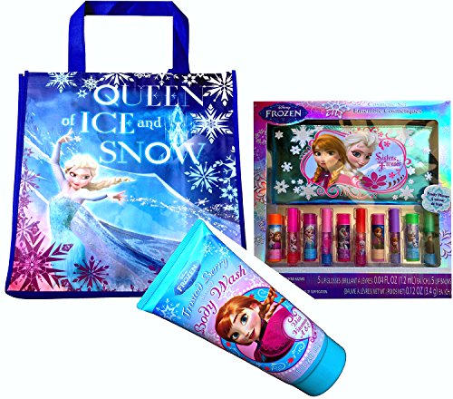 Disney Frozen Queen of Ice and Snow with Disney Frozen Cosmetic Set Lip Gloss and Lip Balms with Bonus (BODY WASH( 7fl oz ))