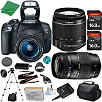 Canon EOS Rebel T5i Camera with 18-55mm IS STM Lens + Tamron 70-300mm AF + 2pcs 16GB Memory + Camera Case + Card Reader + Professional Tripod + 6pc ZeeTech Starter Set