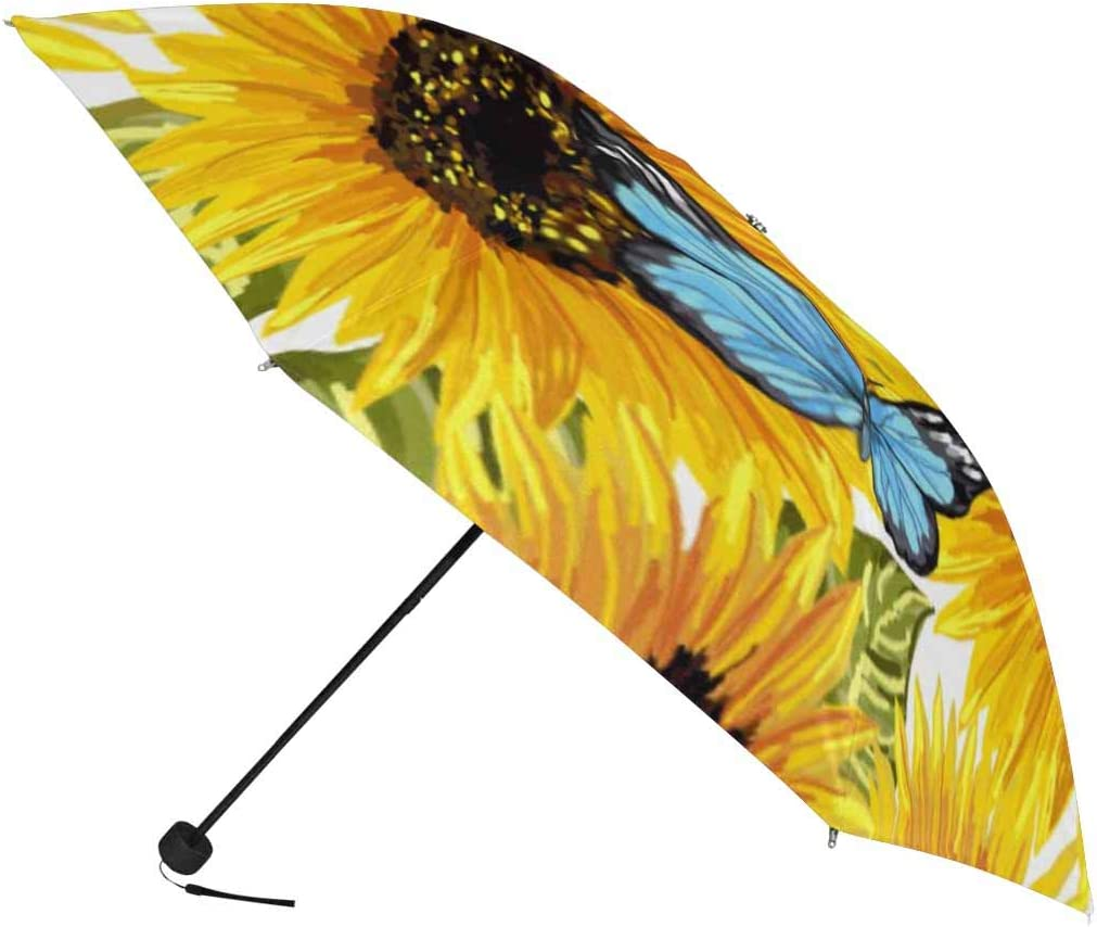 InterestPrint Custom Colored Flowers Blossom Anti Sun UV Foldable Travel Compact Umbrella