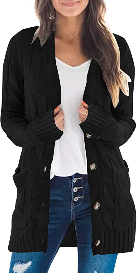 Women/'s Front Cardigan Button Down Knitted Sweater Coat with Pockets