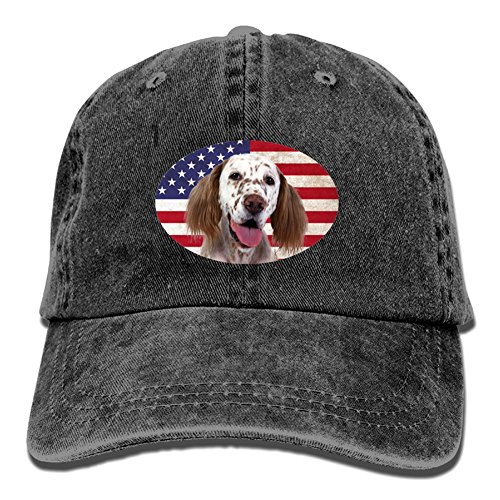NIWAHO English Setter Dog U.S.Flag Print Baseball Cap Vintage Dad Hat English Setter Accessories