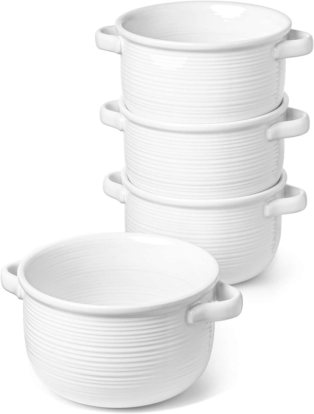 LE TAUCI Soup Bowls With Handles, 28 Ounce for Soup, chili, beef stew, Set of 4, White