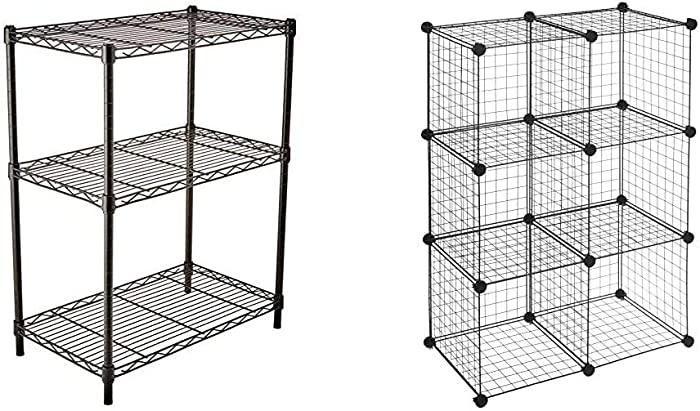 AmazonBasics 3-Shelf Adjustable, Heavy Duty Storage Shelving Unit, Steel Organizer Wire Rack, Black & 6 Cube Grid Wire Storage Shelves, Black