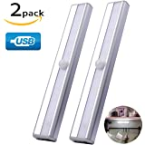 Closet Light Cupboard Motion Sensor Rechargeable under Cabinet Counter Stairs Lighting Drawer Bar Wireless Night Sensing lights Safe Magnetic Strip 10 LED 2 Pack Stick-on Anywhere Warm White (Silver)