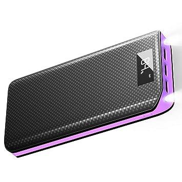 Baterias Externas X-DRAGON 20000mAh Power Bank con 3 Puertos USB, LED Brillante Cargador Móvil Portátil para iPhone X/8 Plus/7/6/5, Movil, Huawei, ...