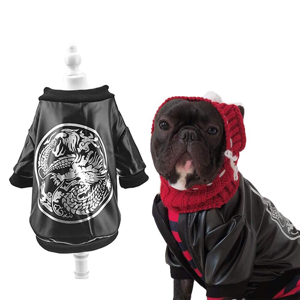 Black XL(Bust 24.4\ Black XL(Bust 24.4\ MUYAOPET Dragon French Bulldog Clothes Dog Leather Jacket Coat for Corgi Pitbull Pug Small Medium Beefy Dog Apparel (XL(Bust 24.4 ), Black)
