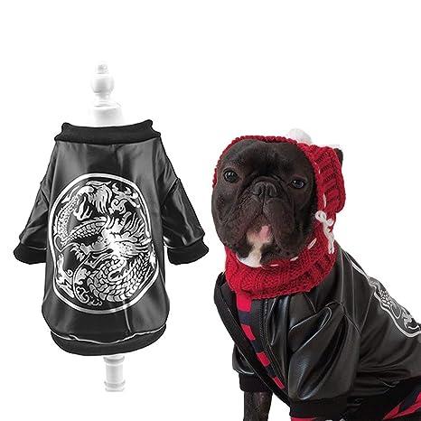 FLAdorepet - Chaqueta de Piel para Perro Bulldog francés, diseño de dragón