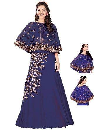 1e7cd5d897ef6 Amazon.com  Ethnicwear Designer Jacket Style Indowestern Reception Party  Wear Indian Georgett Silk Zari Sequence Lehenga Choli  Clothing