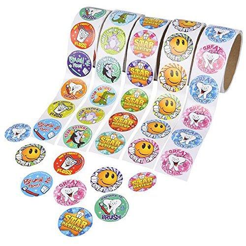 Dental Roll Sticker Assortment, 5 Rolls 100 Stickers Per Roll / 500 Total, Dentist Stickers, Tooth Fairy
