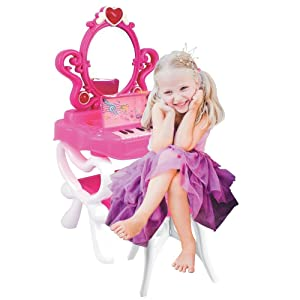 Dimple Princess Vanity with Piano Play Set for Girls,16 Fashion and Toy Makeup Accessories,Functional 2 Mode Piano Keyboard & Flashing Light,Image of Princess Appear When Pressing The Mirror-Button