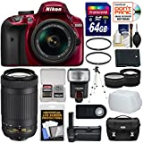 Nikon D3400 Digital SLR Camera & 18-55mm VR DX AF-P Zoom Lens (Red) with 70-300mm Lens + 64GB Card + Case + Battery + Grip + Tripod + Tele/Wide Lenses + Kit