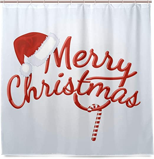 Santa Claus on the beach holiday Shower Curtain Bathroom /& 12hooks 71*71inches