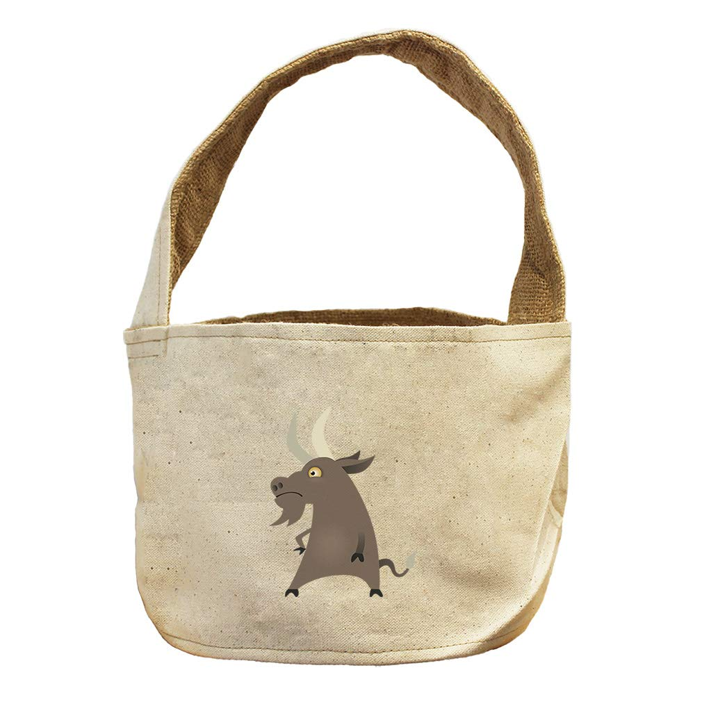 Style in Print Goat Unhappy Animals Canvas and Burlap Storage Basket
