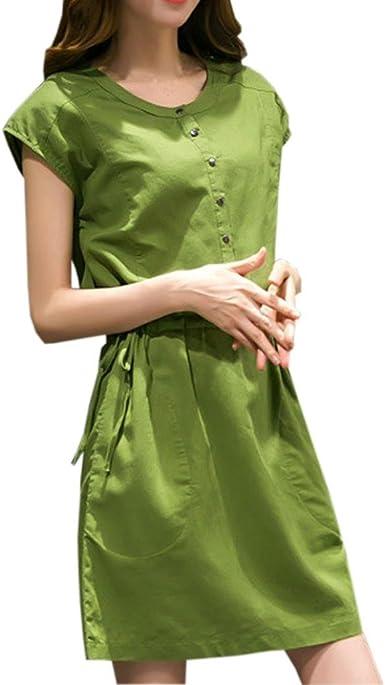 TOPUNDER Button Down Shirt Dress for Women Elegant Knee Length Short Sleeve Dresses Party