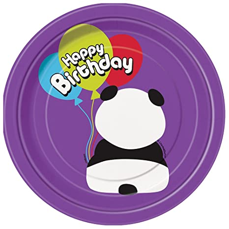 Amazon.com: Oso panda Cumpleaños Postre Platos, 8 ct ...