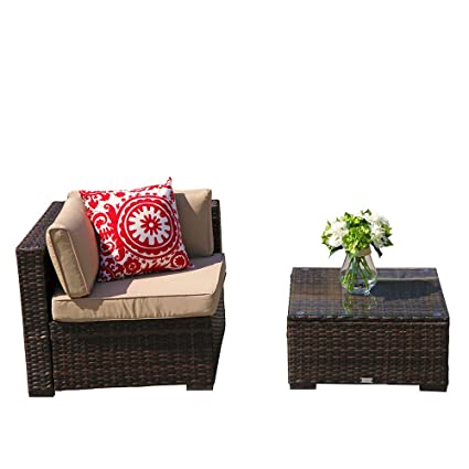 PATIOROMA Outdoor Corner Chair, Patio Corner Chair And Glass Coffee Table  All Weather Brown