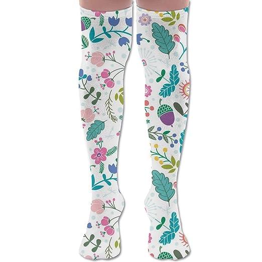 Womens Unique Bohemia Floral Flower Knee High Socks Girls