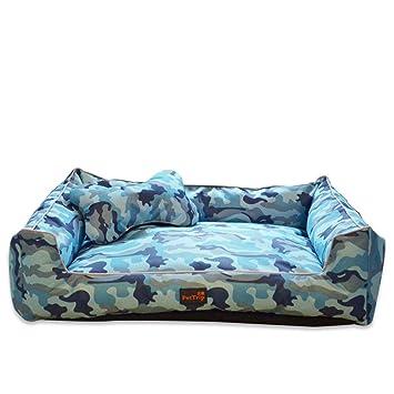 XSQRGG Camas para Perros Pequeño Medio Grande Mascotas Sofá Impermeable Lavable Y Extraíble,Blue,