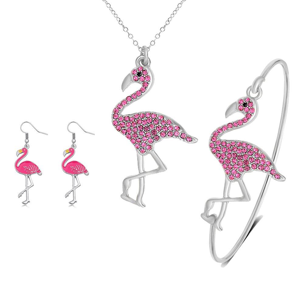 SENFAI Pink Flamingo Bird Bangle Bracelet/Pendant Necklace/Dangle Earrings 3 Pcs Set for Women (Silver)