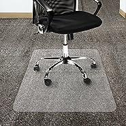 Office Marshal Polycarbonate Chair Mat for Carpet Floors, High Pile - Clear, Studded, Rectangular Carpet Floor Protection Mat