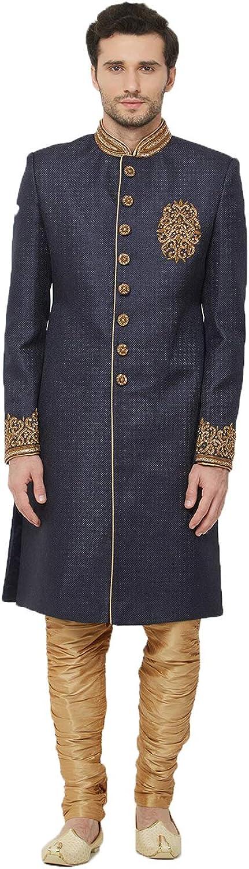 Indian Designer Partywear Traditional Ethnic Jute Mens Wear Sherwani. Navy Blue Xd4kW