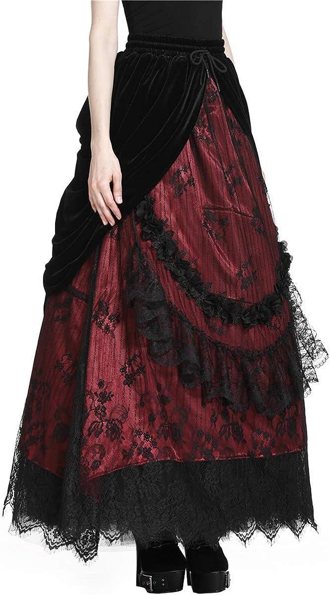 Dark amoureux Long Gothique Jupe Noir Rouge Velours Dentelle Steampunk Victorian Bustle