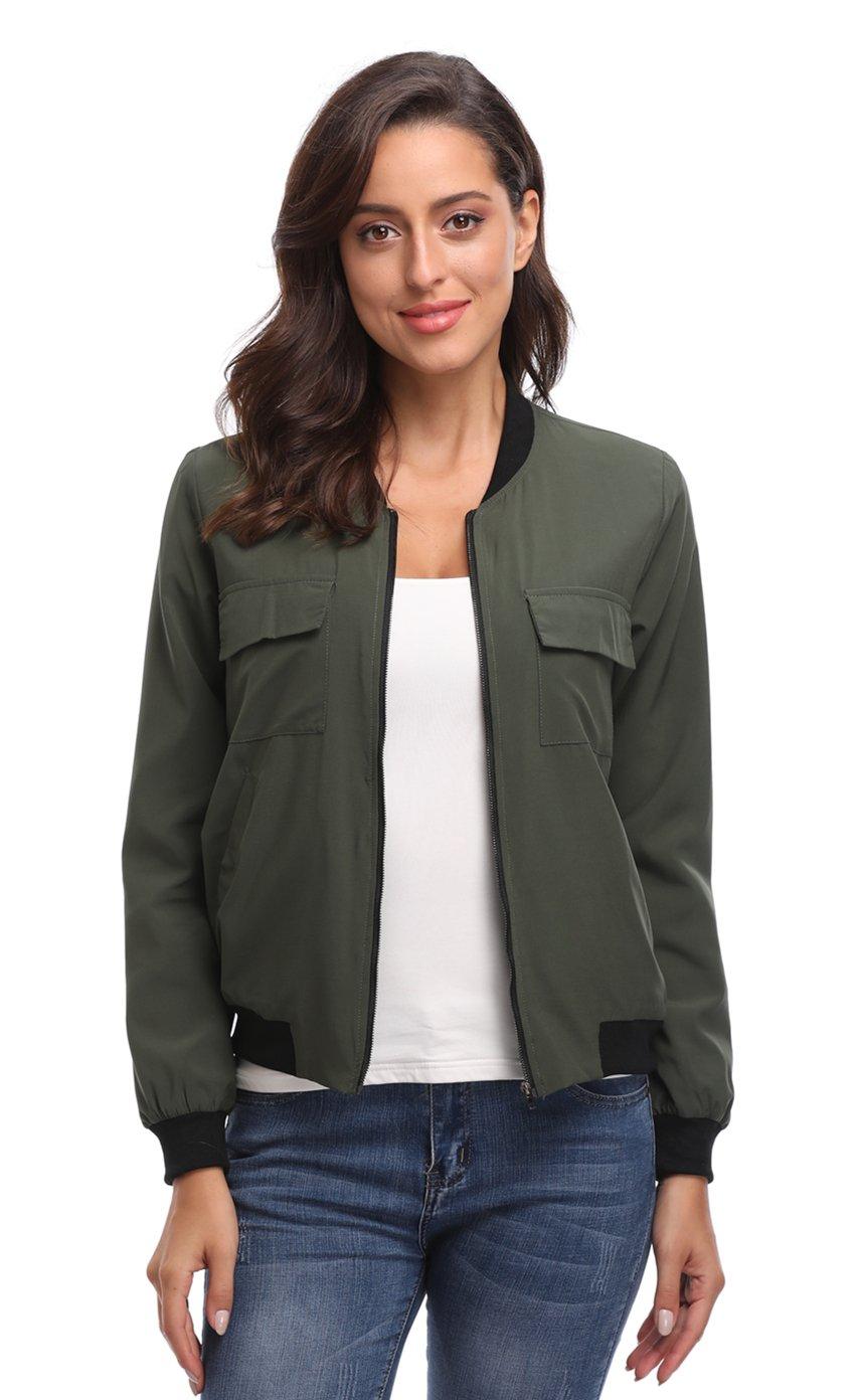 MISS MOLY Women's Multi-Pocket Zip Long Sleeves Solid Windbreaker Biker Summer Lightweight Thin Bomber Jacket (L/US 14, Lined-Army-Green)