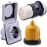Leisure Cords 30 AMP RV Trailer Marine Power Cord Power Inlet - Female Twist locking Connector - Weatherproof Boot Kit