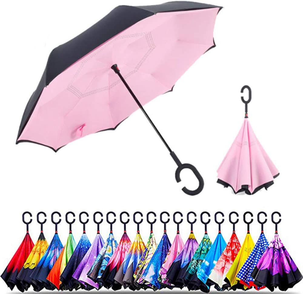 Double Layer Inverted Inverted Umbrella Is Light And Sturdy Two Humming Birds Blossoming Cherry Embroidery Reverse Umbrella And Windproof Umbrella Ed