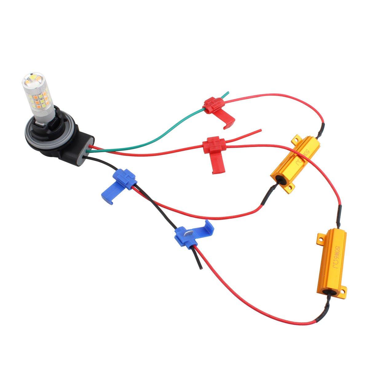 TOMALL 2PCS 50W 6Ohm Decodifica resistori a LED per kit di conversione lampadina LED Avvertenza Annulla