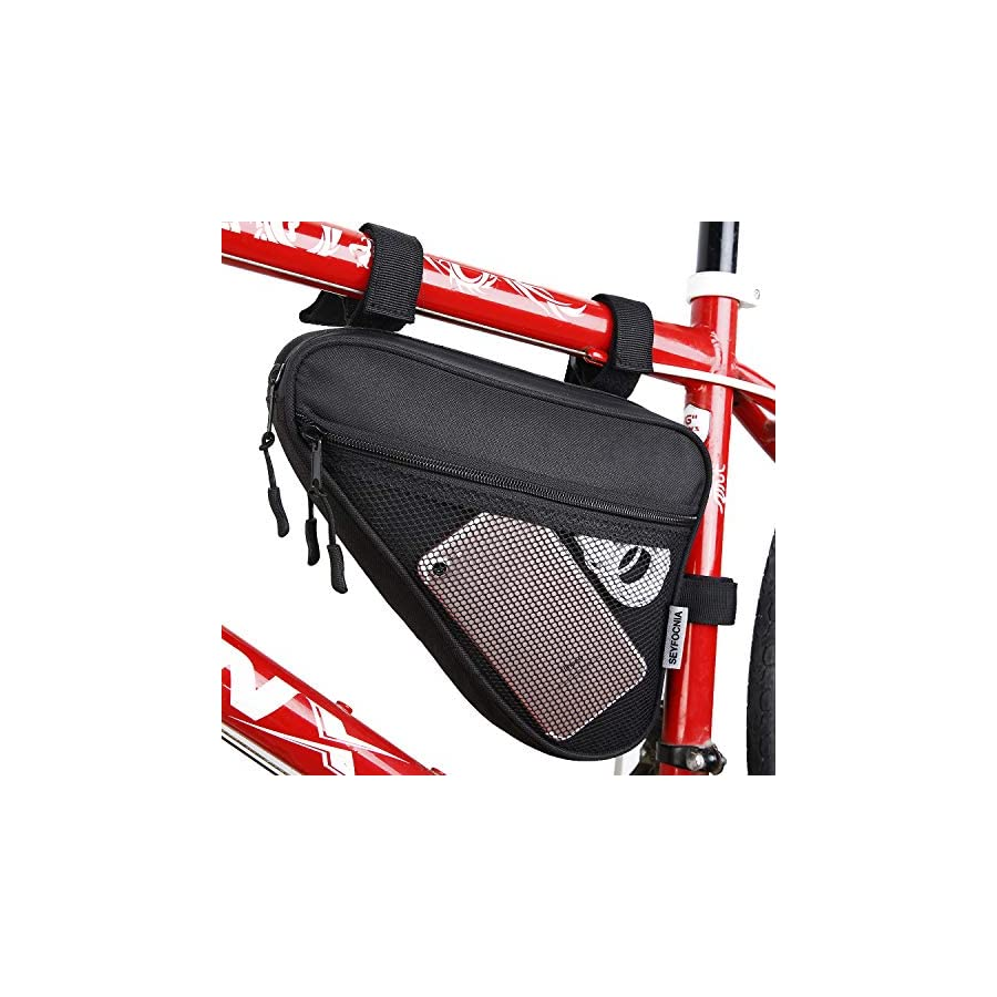 SEYFOCNIA Bike Bag,Bike Saddle Bag,Multiple Pockets Road Bike Triangle Frame Bag for Cycling