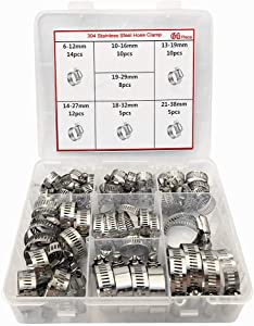 Hose Clamp,64 Pcs All Stainless Steel Adjustable 6-38mm Range Worm Gear Hose Clamp,Fuel Line Clamp for Plumbing, Automotive and Mechanical Applications Assortment Kit (1)