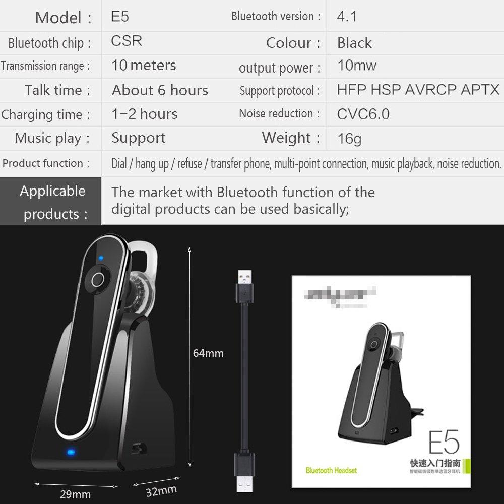 AOAO Coche Bluetooth Auriculares inalámbricos Estéreo Bluetooth 4.1 Manos Libres teléfono y Asiento de Coche Cargador Tipo Oído Negocios Tapones para los ...