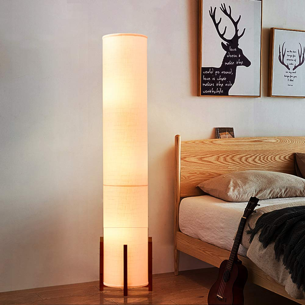 Floor Lamp AMUMO Tall Lamp for Living Room 61 Inches - with 3 LED Bulbs Soft Light, Modern Bright Standing Light for Bedroom Office - LED Bamboo Lamps White ...